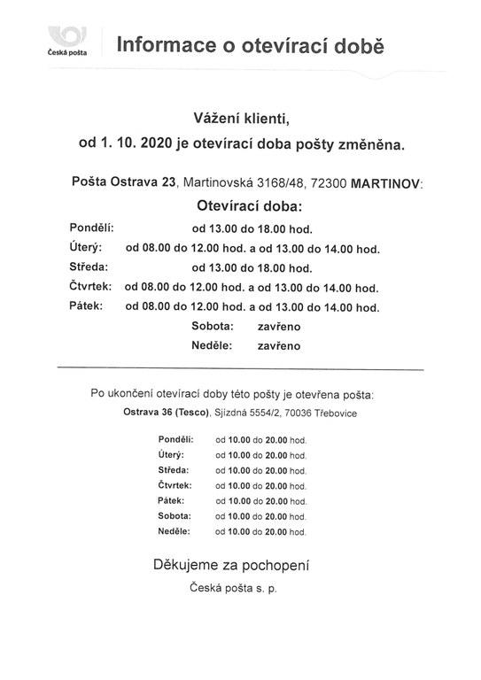Změna otevírací doby České pošty v Martinově